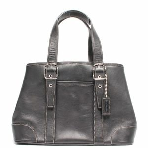 COACH Black Leather Double Handle Satchel Handbag
